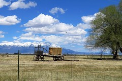 Ranch Country (Patricia Henschen) Tags: alamosacolorado alamosa country roads backroads backroad rural ranch sheep clouds mountains blanca hay wagon