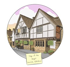Sign of the Angel & Border Collie (Laura's Aura) Tags: pub inn vector art lacock wiltshire sign angel cotswolds