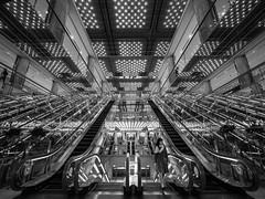 Tokyo Maze (marco ferrarin) Tags: urban maze mirror labyrinth escalator blackandwhite light yurakucho mullion tokyo japan travel 유라쿠초센터빌딩 有楽町 東京 유라쿠초 有樂町 有楽町マリオン