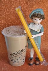 Tea Time (Lorena Firefly) Tags: bjd boy balljointeddoll bokeh doll dollfie bluefairy sagefei yosd tiny bubbleology bubbletea bobatea cute