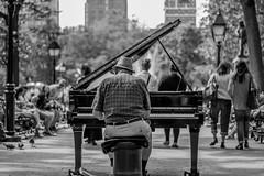 The pianist, Washington Square (NightFlightToVenus) Tags: newyork bw blackandwhite monochrome piano pianist flickrunitedaward washingtonsquare usa unitedstatesofamerica etatunis ngc
