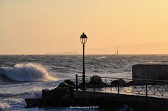 The lamp post (Chris Maroulakis - Off for a few weeks) Tags: athens faliro lamppost sea sunset waves nikond7000 chris 2017 maroulakis