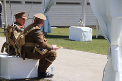 Faces of Vimy Ridge: Sharing a moment of peace (Can Pac Swire (away for a bit)) Tags: toronto ontario canada canadian forces armed army fortyork national historic site reenactment worldwar one 1 i wwi great war 1917 battle vimyridge 2017 100th 100 anniversary centenary remembrance 2017aimg7990 soldier