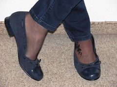 blue ballet flats, nylons and jeans (Isabelle.Sandrine1999) Tags: leather shoes pumps ballet flats ballerinas sabrinas tattoo anklet jeans nylons stockings shoeplay dangling feet legs blueballetflatsnylonsandjeans