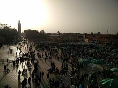 Jemaa El-Fnaa And Koutoubia Minaret Dusk (itchypaws) Tags: marrakech marrakechtensiftalhaouz morocco ma jemaa elfnaa koutoubia mosque minaret sunset dusk le grand balcon du cafe glacier