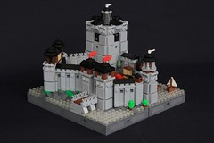 Summer Joust Prize: Faerdham Fortress (soccersnyderi) Tags: lego castle micro moc creation tower gatehouse model walls wall water boat design sail tree bridge lighthouse keep