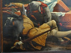 ca. 1512-1516 - 'Resurrection, Isenheim Altarpiece' (Matthias Grünewald), Antoniterkloster, Issenheim, Musée Unterlinden, Colmar, dép. Haut-Rhin, France (RO EL (Roel Renmans)) Tags: 1512 1515 1516 ca resurrection auferstehung christ jesus issenheim isenheim altar altarpiece retable retablo altare colmar museo museum musée unterlinden hautrhin france renaissance soldiers matthias grünewald armour armor pourpoint soldats guardiens guardians bascinet camail aventail gambeson sword soldier visor pollaxe poll axe plate armet halo antoniterkloster couvent antonins monastery anthony commanderie hospital sleeping