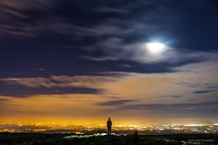 No Mean City, No Mean View (Explored- thanks!) (john&mairi) Tags: craigmore kilpatrickhills glasgow night moon spica arcturus stars clouds le long exposure city silhouette me scotland