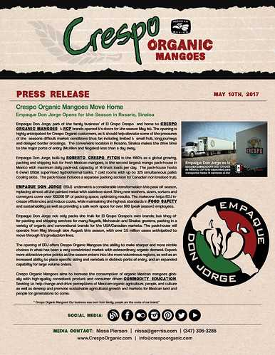 "May 10th, Crespo Organic Mangoes Move Home - Press Release • <a style=""font-size:0.8em;"" href=""http://www.flickr.com/photos/139081453@N03/33739216974/"" target=""_blank"">View on Flickr</a>"