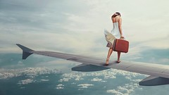 298/365 Melancholy of Freedom (Katrina Y) Tags: surreal surrealphotography fineart concept conceptual selfportrait woman airplane wing briefcase travel clouds art mood 2017 365project manipulation photoshop