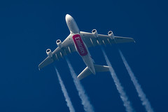 Emirates Airbus A380-861 A6-EOL (Thames Air) Tags: emirates airbus a380861 a6eol contrails telescope dobsonian overhead vapour trail