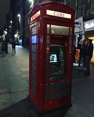 Old telephone booths converted into ATM machines. #scotland #roadtrip #europe #uk #edinburgh