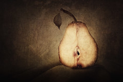 Dying Inside (AJWeiss71) Tags: pear pears stilllife fruit fruits rustic texture textures ripe organic old slice sliced food foods healthy nutrition nutritious natural half vintage stem stems brown seed seeds classic classical juicy weathered aged isolated isolation alone solitary amyweiss decay decayed decaying rot rotten rotting death dying sad sadness moody mood minimal minimalistic