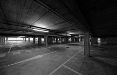 Urbanitude (n°5) (Guillaume DELEBARRE (Guigui-Lille)) Tags: concrete béton parking grey monochrome noiretblanc blackandwhite bw nb canon 6d sigma1224mmf4556iidghsm uwa ultragrandangle ultrawideangle architecture sad sadness sadmood épuré minimalism minimalist minimaliste atmosphere mood