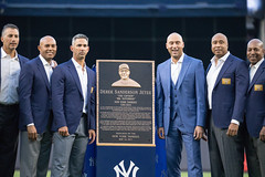 Derek Jeter poses with Andy Pettitte, Mariano Rivera, Jorge Posada, Bernie Williams and Willie Randolph. (apardavila) Tags: andypettitte berniewilliams derekjeter derekjeternight jorgeposada mlb majorleaguebaseball marianorivera monumentpark newyorkyankees willierandolph yankeestadium yankees yanks baseball sports