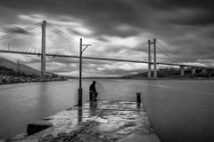 xoros-3 (kostas_krommydas) Tags: sigma 1750 nikon long exposure bridge bw lee filters big stopper self portrait sea clouds rain chalkis greece