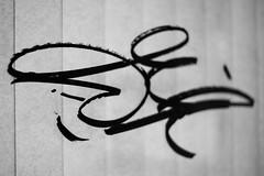 Scrawled (belleshaw) Tags: blackandwhite downtownriverside graffiti window blinds glass scrawl paint detail abstract