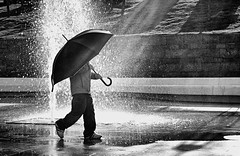umbrella (photoksenia) Tags: light street umbrella boy city monochrome blackandwhite fountain people odessa ukraine
