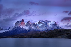 Torres del Paine morning (debbie_dicarlo) Tags: torresdelpaine torresdelpainespires granitemountains chile chileanpatagonia patagonia lakepehoe sunrise bluehour pinkclouds nature