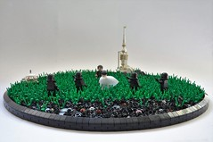 """""""You're a hard man to find, Galen"""" (1) (Inthert) Tags: lego moc star wars galen erso director orson krennic death troopers lah'mu rogue one moisture vaporator iceland grass farming empire imperial vignette scene prologue"""