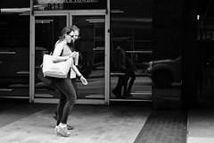 Coffee Date (burnt dirt) Tags: houston texas downtown city town mainstreet street sidewalk corner crosswalk streetphotography fujifilm xt1 bw blackandwhite girl man woman people person couple pair group crowd walking talking standing looking boots heels stilettos sandals model photographer camera lens dress skirt shorts glasses sunglasses purse bag phone cellphone pose longhair shorthair ponytail kneehigh blonde brunette headphones cap hat asian friends bike bicycle prom lovers