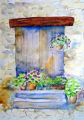 Door, by Amália - DSC01066 (Dona Minúcia) Tags: art painting watercolor study paper door vase flower plant stair step arte pintura aquarela porta vaso flor planta degrau escada