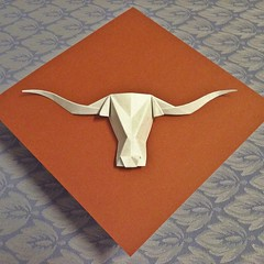Bevo (Texas Longhorn) (the real juston) Tags: bevo mascot university texas austin longhorn burnt orange white hook em horns xv xiv xiii origami papiroflexia 折り紙 paper folding paperfolding 225° design box pleating boxpleating bp crease pattern cp diagram traditional bases frog bird kite fish pig pinwheel windmill waterbomb cupboard square preliminary juston