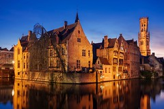 Bruges Architecture at Blue Hour (Barry O Carroll Photography) Tags: belfry beffroi belltower buildings flemish bruges brugge belgium belgique canal water reflection night bluehour city cityscape urbanlandscape architecture travel wideangle