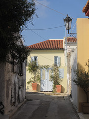 Yellow house with sun and shadow, street in Plaka, Athens, Greece (Paul McClure DC) Tags: athens athína greece nov2014 attica ελλάδα ελλάσ plaka historic architecture