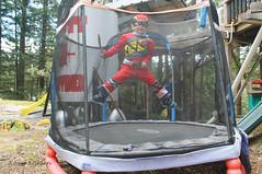 Super Wyatt (KaseyEriksen) Tags: wyatt child boy kids kid grandson trampoline jump jumping feetup outdoor playground silly superhero