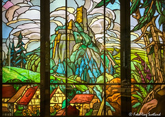 Jacques Gruber (1870-1935) Stained glass panels [3] in triptych form depicting a mountainous landscape. (FotoFling Scotland) Tags: countydurham england jacquesgruber stainedglasspanels barnardcastle bowesmuseum mountainouslandscape teesdale triptych fotoflingscotland