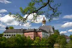 The Höglwörth monastery (echumachenco) Tags: höglwörth monastery kloster church kirche baroque history architecture nature greenery bush tree branch plant water reflection sky cloud blue white green spring may upperbavaria oberbayern germany deutschland bavaria bayern nikond3100