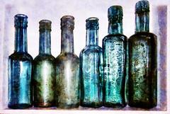 The Dredges (Steve Taylor (Photography)) Tags: bottle art digital black green blue mauve white contrast glass uk gb england greatbritain unitedkingdom texture mascot ok sauce