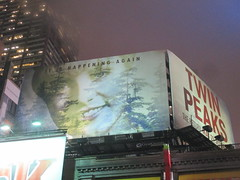 Twin Peaks Billboard Times Square 2017 Foggy Night NYC 4856 (Brechtbug) Tags: twin peaks the return billboard poster ad laura palmer sheryl lee fbi agent dale cooper kyle maclachlan mystery 90s show showtime type mysterious bird birds owl owls may 05212017 9pm 2017 nyc broadway 50th st near times square midtown manhattan street new york city streets 04272017 hazy fog foggy night nite