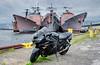 Kawasaki Ninja ZX14 at Philadelphia Navy Yard (Kofla Olivieri) Tags: navyyard navy delawareriver philadelphiashipyard philly pennsylvania koflaolivieri photomatixprohdr adobephotoshopelements naval topaz adjust