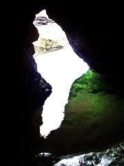 Inside Cave Rock (Steve Taylor (Photography)) Tags: caverock cave mud art digital black green mauve purple white stone rock newzealand southisland nz canterbury christchurch water silhouette shiny beach lowtide ocean pacific rocks sea sumner