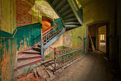step ahead (klickertrigger) Tags: staircase steps dust rust decay abandoned urbex urbanexploration stefan dietze warm ceiling architecture
