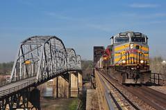 Kansas City Southern 4590 4110 BNSF Rulo Bridge W. of Fortescue MO (Railblazer) Tags: burlingtonnorthernsantafe burlingtonnorthernsantaferailway bnsf bnsfrailway bridge bnsfrulobridge railroadbridge bnsfstjosephsubdivision kansascitysouthern kansascitysouthernrailroad kcs kcsrailroad kansascitysoutherngraintrain graintrain kcsac4400cw ac4400cw ac4400cwlocomotive missouririver missouririverbridge missouririverbridgerulonebraska rulonebraska