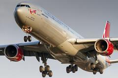 G-VWKD Virgin Atlantic Airbus A340-642 (buchroeder.paul) Tags: gvwkd virgin atlantic airbus a340642 lhr london heathrow united kingdom final dusk