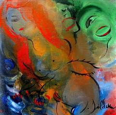 JEUNE FEMME AU BAIN (Claude Bolduc) Tags: artsingulier outsiderart artbrut visionaryart intuitiveart lowbrow redhair