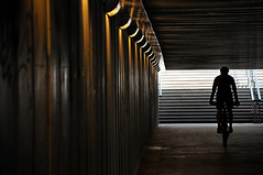 Cyclist underground (rafasmm) Tags: lodz łódź poland polska underground light shadows cycle cyclist europe city citylife citycenter under street tunel stairs