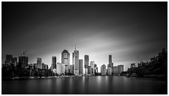 River view (Jaka Pirš Hanžič) Tags: city brisbane queensland qld australia cityscape skyline skyscraper buildings architecture long exposure lee little stopper nd 6 10 16 filter day daylight bright dark river water movement motion monochrome black white bw clouds cloudy