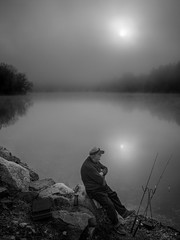 (Mr. Tailwagger) Tags: leica m240 elmarit 28mm preasph tailwagger canterbury nh new pond mist fog fishing poles reflected sun