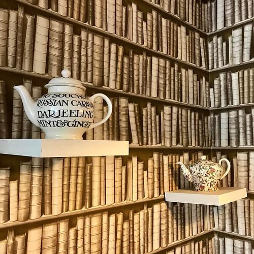 Teapots & Tomes #teapot #bookshelf #books #wallpaper