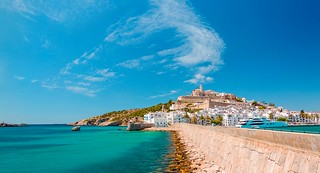 A view from the lighthouse of Ibiza Harbor.