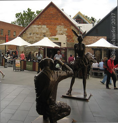 Whimsical sculpture at Salamanca Square in Hobart, Tasmania (Su_G) Tags: 2017 sug whimsicalsculpture salamancasquare hobarttasmania sculpture publicart publicsculpture marilynmunroeriff saturdaysalamancamarket whimsical communityart