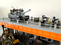 M1 Abrams on the bridge (Devid VII) Tags: devid vii devidvii m1 abrams bridge diorama mecha camouflage lego moc war soldiers troopers