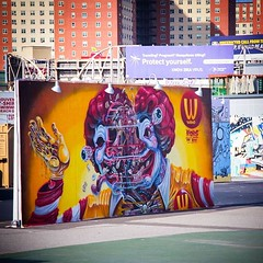 Nychos @ Coney Island / Brooklyn - New York...   Photo : Lucas Belluteau (In fact the picture is taken by my son, Lucas, standing on my shoulders to be above the fence!) Plus de photos sur http://www.unoeilquitraine.fr/  @nychos @coneyislandartwalls #nych (un oeil qui traîne) Tags: instagramapp square squareformat iphoneography uploaded:by=instagram lofi