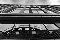 Architecture West End EPMG  (11 of 20) (Philip Gillespie) Tags: architecture edinburgh scotland mono buildings city sky spring form shape angles reflections clouds modern
