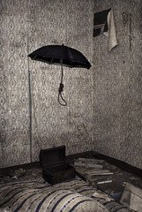 Paranoid (veronika b phoenix) Tags: conceptual conceptualphotography umbrella art surreal surrealism project work rope hangingrope box treasure room old vintage abandonedroom abandonedhouse empty matress creepy weird ghost dying decay